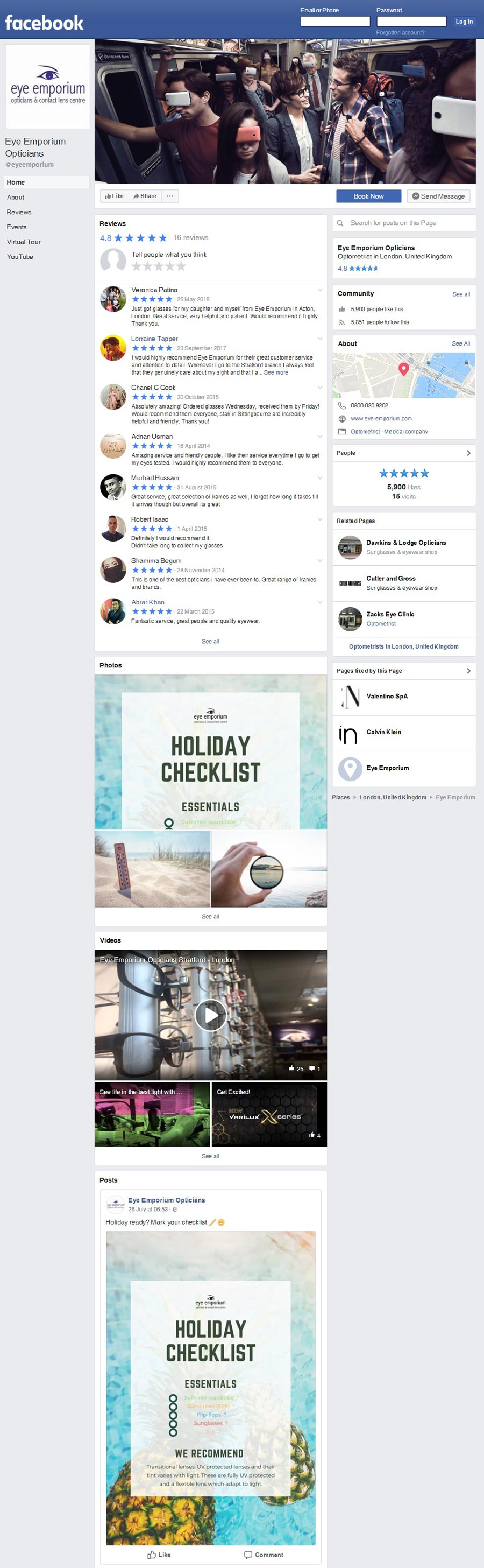 An example of facebook page for optometry practice